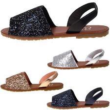 New Womens Ladies Glitter Slingback Flat Menorcan Open Toe Spanish Sandals Shoes