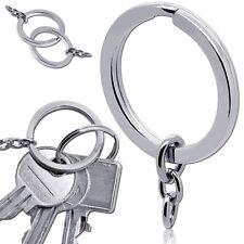 Anello Portachiavi Chiave Tondo Keyring Argento Acciaio Set con Catena Metallo