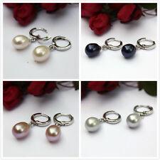 Y62 auténtico de Crianza Agua Dulce joyas perlas pendientes Botón plata 925
