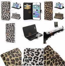 Geldbörse Leder Tasche für iPhone 5C - Leopard