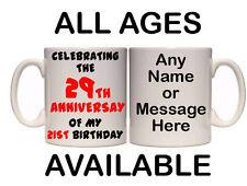 ANNIVERSARY OF MY BIRTHDAY PERSONALISED MUG AND COASTER (A2) 11oz & 15oz GIFT
