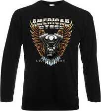 Maniche lunghe/Camicia A Maniche Lunghe in nero con Motociclista