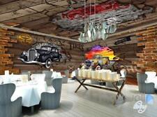 3D Cars Break Brick Wall Entire Living Room Business Wallpaper Mural Art Decor