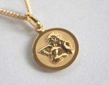 ECHT GOLD *** Engel Schutzengel Anhänger 19 mm *** optional mit Kette Gold plat.