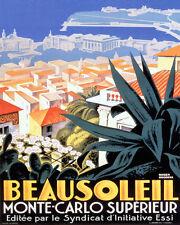 POSTER BEAUSOLEIL MONTE CARLO EUROPE TOURISM TRAVEL VINTAGE REPRO FREE S/H