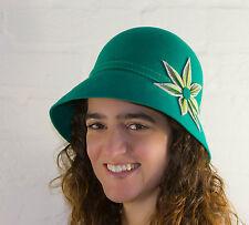 Handmade Felt Ladies Hard Hat With Flower