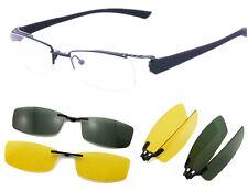 Magnet Polarized Clip on half rimless Eyeglasses Frame Night Driving sunglasses