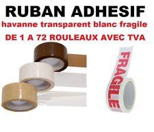 1 à 72 Rouleau, Ruban  ADHÉSIF EMBALLAGE marron havane; transparent ou blanc