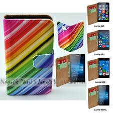 For Lumia 950XL 950 650 640 - Colour Streak Print Flip Wallet Phone Case Cover