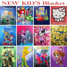 NEW KIDS BLANKET MINK AND POLAR FLEECE BOYS GIRLS WINTER DISNEY FROZEN MINION