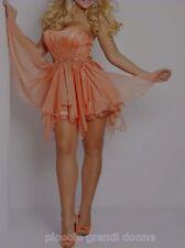 mini abito donna con strass vestito pieghettato cerimonia ballo damigella 7082