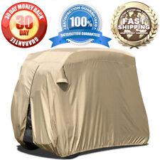 2-Person Golf Cart Storage Cover Rainproof Zippered Rear Air Vents + Elastic Hem
