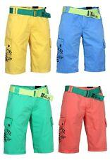 SUBLEVEL Pantalones Cortos Hombre Bermudas Pantalón Con Cinturón Cremallera