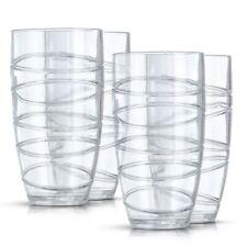 LIVIVO 4/8/12 DELUXE SWIRL PLASTIC ACRYLIC HI BALL TUMBLERS LRG DRINKING GLASSES