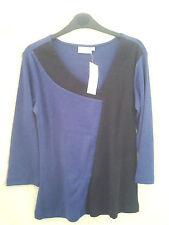 Adini 100% cotton 1x1 rib jersey 3/4 sleeve longline top irregular V neck