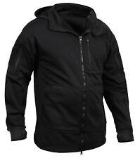 Tactical Zip Up Sweatshirt Hooded Hoodie Black Fleece Lining Rothco 2507