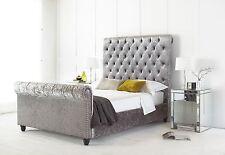 Majestic Crushed Velvet Chesterfield Upholstered Sleigh Bed Frame 4FT6 Double