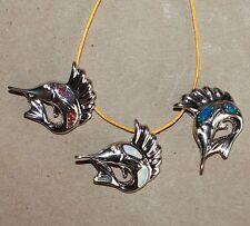 1 fire opal necklace pendant gems silver jewelry chic sea Swordfish marine life