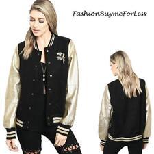 Women Crystal Jewelry Pins Embellished Black Faux Leather Varsity Sports Jacket