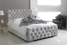 Florida Crushed Velvet Fabric Upholstered Silver Bed Frame 4'6 Double 5FT King