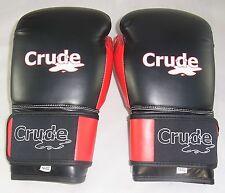 Noir/Rouge Gants De Boxe Fermeture Scratch Qualité Pro Matériel par Crude Boxing