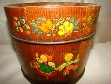 Vintage Childs Decorative Wooden Bucket With Children Decals - Vgc