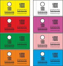 1000 Garderobenmarken 14 mm B-Loch, Wertmarken - 8 Farben -