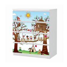 Set Möbelaufkleber für Ikea Kommode MALM 4 Fächer Kinder Baumhaus Folie 25B1767