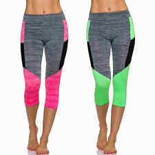3/4 Capri Sport-Leggings Fitness Freizeit Neon Mesh Melange 32 34 36 38 2XS XS S