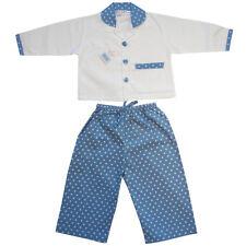 100% Pijama De Algodón Guillermo Azul Blanco Lunares Powell Craft edades 2-7