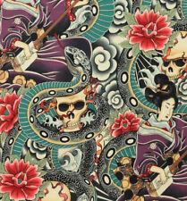 Alexander Henry Zen Charmer Japanese Skull Snake Geisha Lotus fabric FQ/Metre