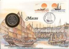 superbe enveloppe MACAO MACAU pièce monnaie timbre