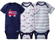 GERBER BABY BOY Onesies Bodysuits Variety 3-Pack Baby Shower Gift FIRETRUCK  NWT