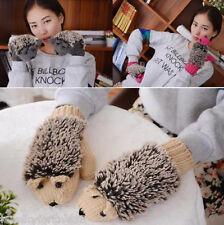 Women Girls Warm Cartoon Hedgehog Gloves Cute Knitted Cotton Winter Mittens