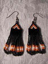 Seed beaded Earrings Handcrafted Orange /Black and white Looped Dangled