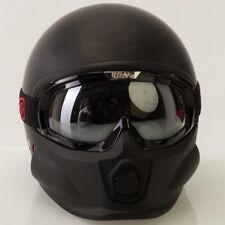 Viper RS07 Trooper Negro Mate Abierta Cara Casco de Moto Urbana con gafas