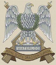 "Royal scots dragoon guards badge cross stitch design (7x8"",18x20cm, kit ou diagramme)"