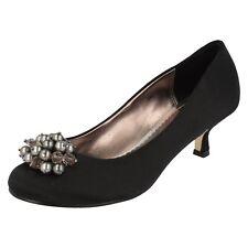 femmes noir satin Filippa Scott à talon semelle cuir chaussures à enfiler Margo