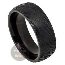 Men's 8mm Semi-Dome Black IP Tungsten Ring w/ Laser Engrave Mokume Design TS6030