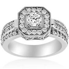 1 ct Vintage Round Diamond Engagement Ring 14K White Gold Halo Round Cut