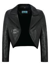 Women Ladies Cropped Jacket Real Leather Shrug Bolero Slim-fit Open Blazer 5650
