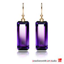 Pure-Gold-14k-18k-Long-Designer-Amethyst-Earrings-Hook-or-Leverback-No-80004312