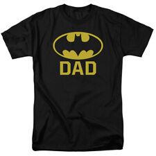 Batman - BAT DAD - Bat Logo and DAD on a Black Mens/Unisex Adult Size T-Shirt