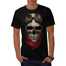 Wellcoda Pilot Fly Dead Skull Mens T-shirt, 0 Graphic Design Printed Tee