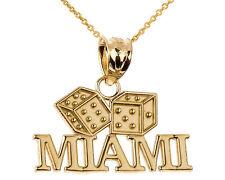 Fine 14k Yellow Gold MIAMI Dice Charm Pendant Necklace Gamble Casino Gambling
