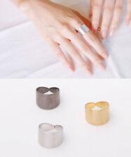 Brushed Metal Large Plat Ring / Korean style Adjustable Unique antique rings