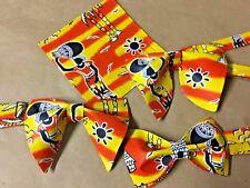 Handmade Mens African Print Kente Bow Tie Handkerchief Pre-tied Bright Colorful