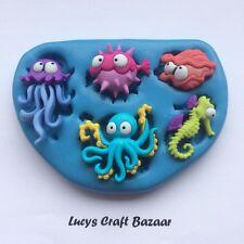 Moule en Silicone sous la mer créatures Méduse Hippocampe Octopus Cupcake Topper