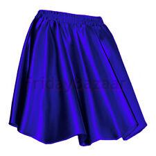 Royal Blue Women Lady Satin Pleated Retro High Waist Shiny Mini Skirt Club S~3XL