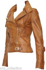 Lowa Tan Ladies Woman's Retro Designer Slimfit Washed Lambskin Leather Jacket